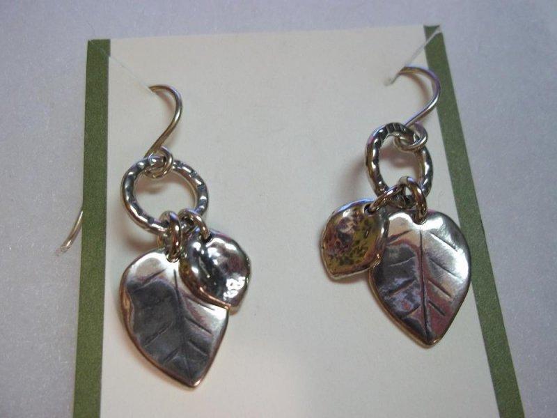 W1773 Retired Silpada Sterling Silver Leaf Accent Earrings