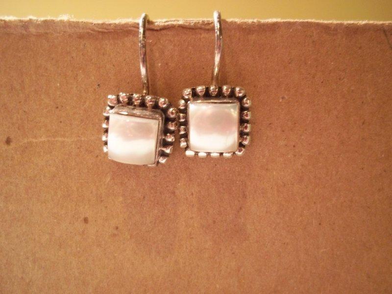 W1394 Silpada Button Frame Pearl Earrings