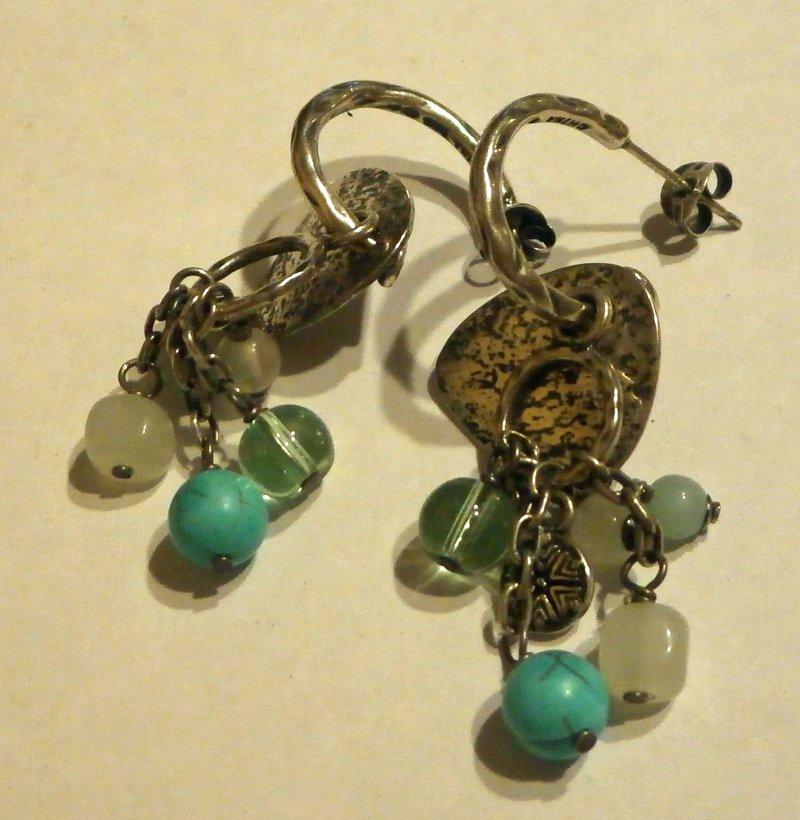 p2022 retired silpada mixed bead sterling silver earrings