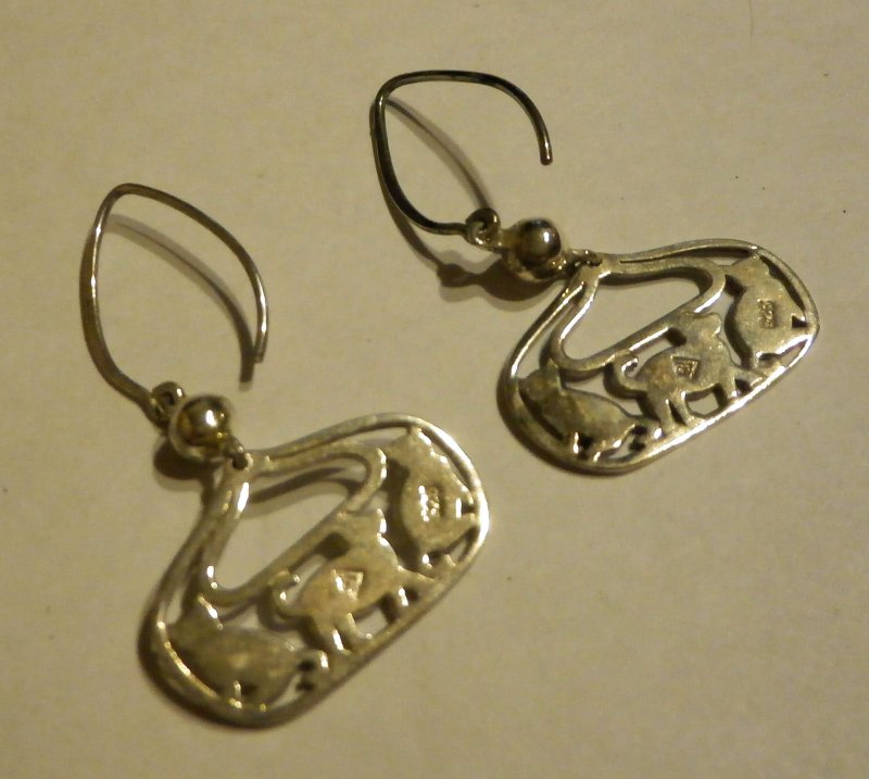 W2050 Retired Silpada Silver Cat Amp Dog Earrings