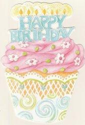 Carol Wilson Happy Birthday Card w/Env Cupcake with Candles CRG1663