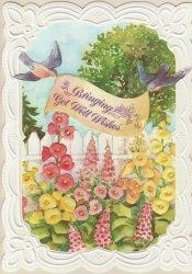 Carol Wilson Get Well Card w/Env Garden Bluebirds CRG1283