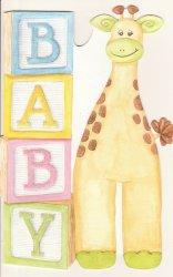 Carol Wilson New Baby Congratulations Card w/Env Giraffe and Baby Blocks CRG1592