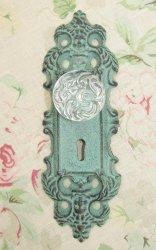 Shabby Cottage Chic Cast Iron Acrylic Glass Knob Hanger Hook Verdigris Green
