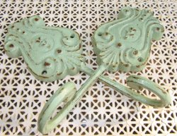 2 Shabby Green Cottage Chic Cast Iron Hooks Distressed Rust Kissed Hand Finished