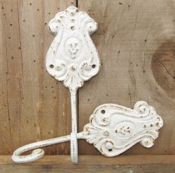 2 Shabby White Cottage Chic Cast Iron Hooks Distressed Rust Kissed Hand Finished