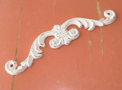 Shabby White Cottage Chic Cast Iron Small Decorative Scroll Distressed Ornate