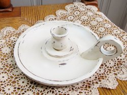 Vintage Shabby White Chamberstick Candle Holder Farmhouse Prim or Cottage Chic